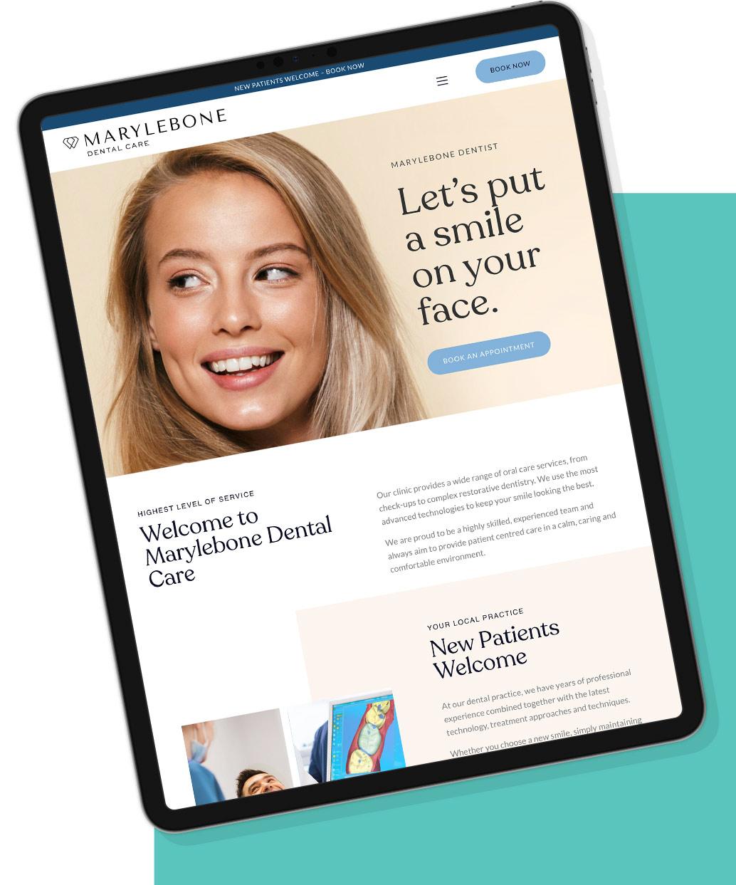 marylebone dental website mockup